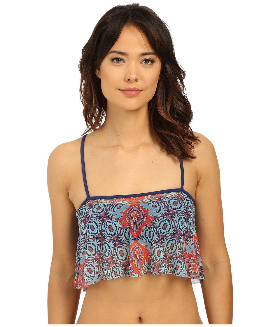 SAHA Juno Bandeau Bikini Top with Removable Mesh Bolero Navy Blue Womens Swimwear