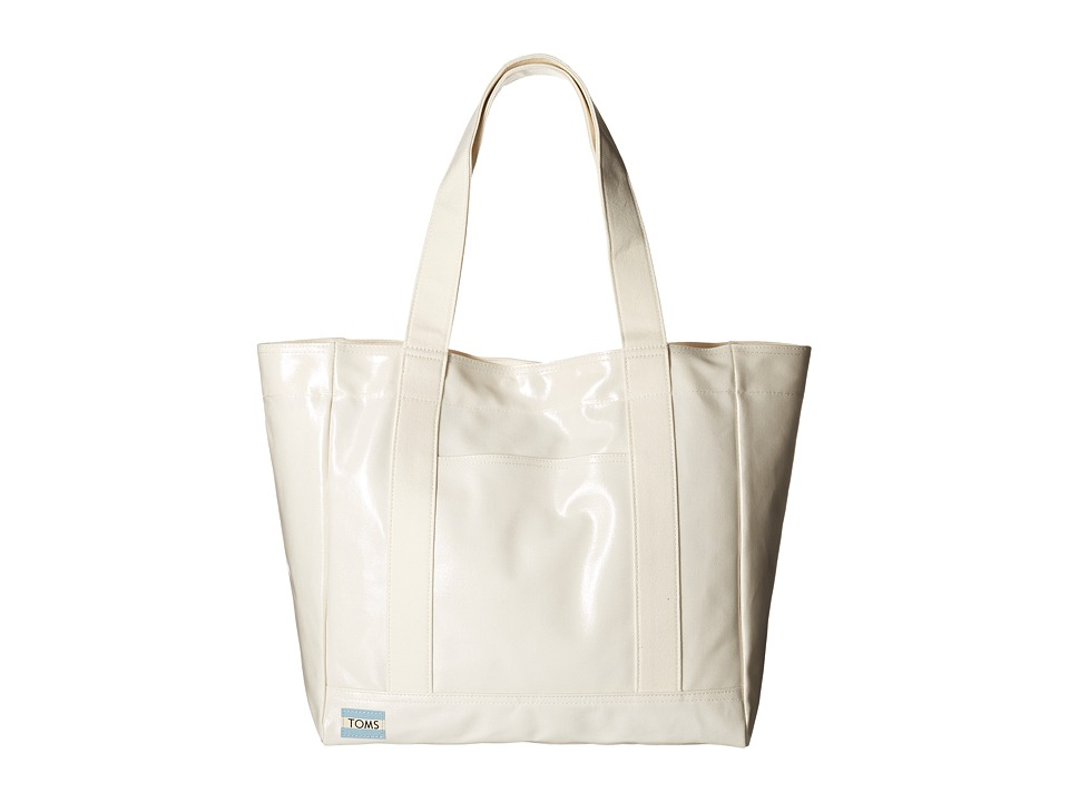 TOMS - Shiny Coated Canvas Tote (Natural) Tote Handbags