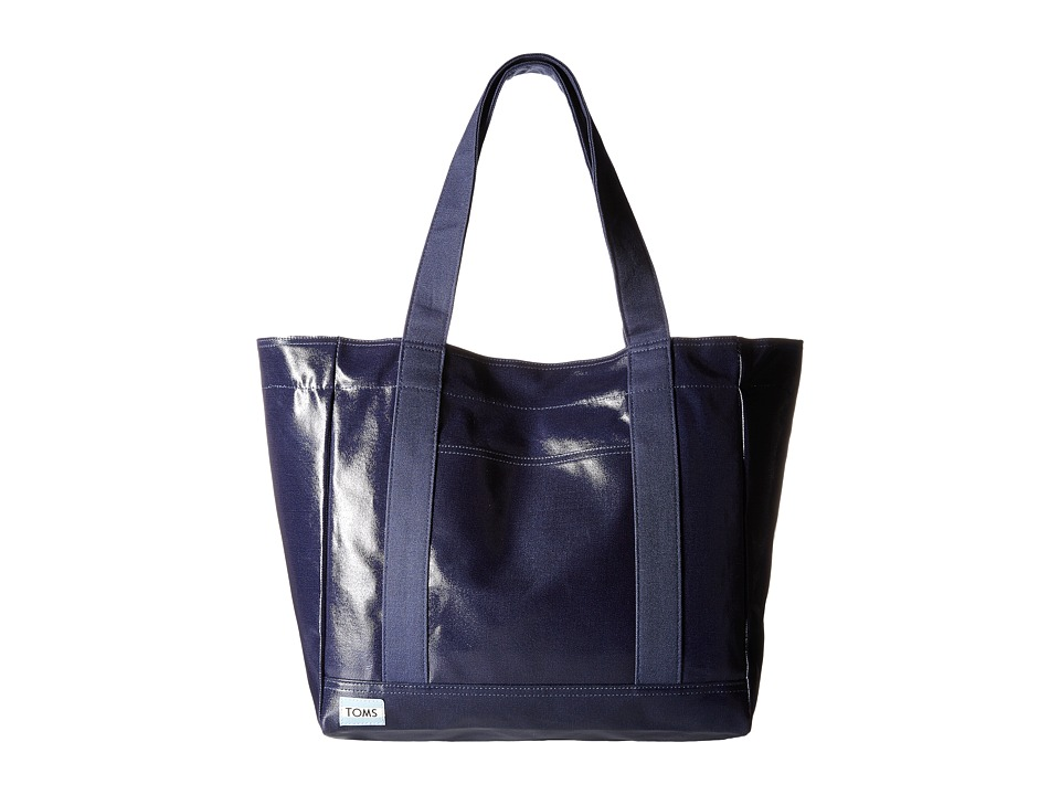 TOMS Shiny Coated Canvas Tote Dark Blue Tote Handbags