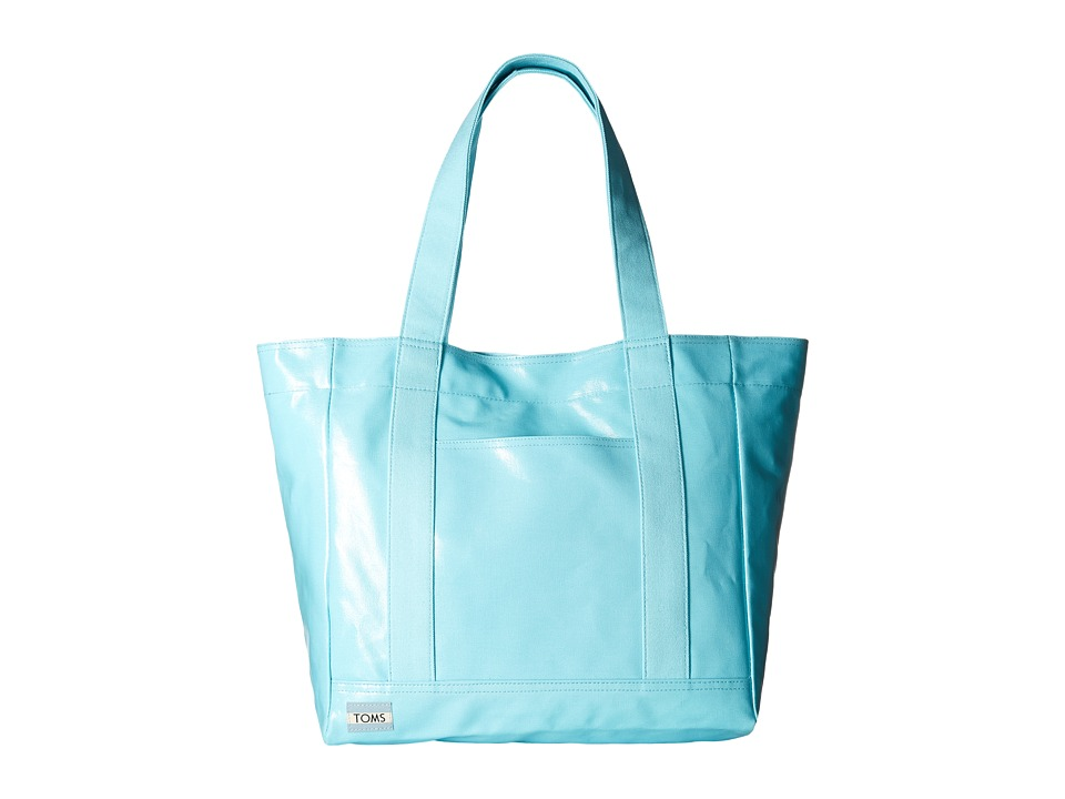 TOMS - Shiny Coated Canvas Tote (Medium Green) Tote Handbags