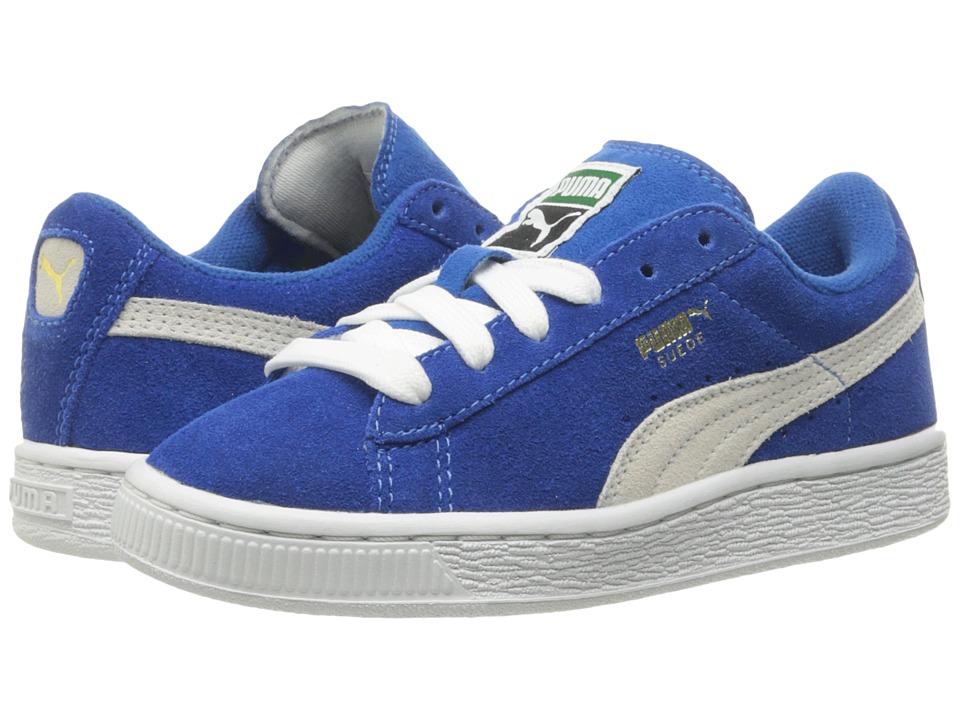 Puma Kids Suede PS (Little Kid/Big Kid) (Snorkel Blue/Puma White) Boys Shoes