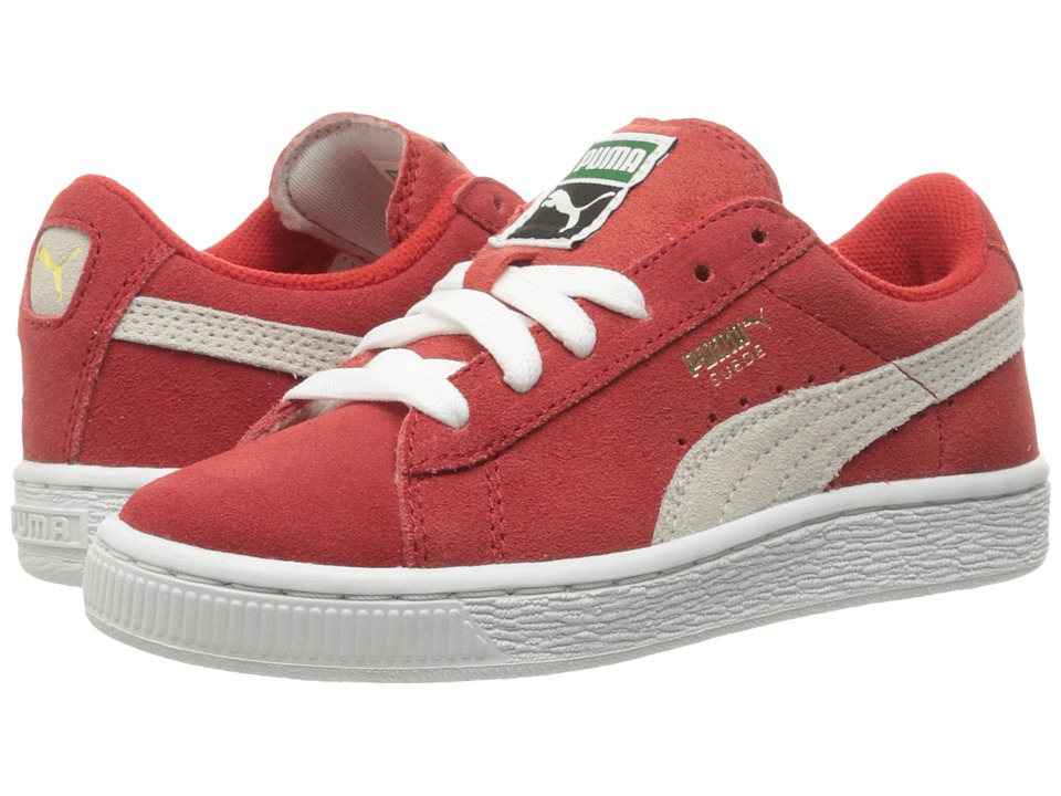 Puma Kids Suede PS (Little Kid/Big Kid) (High Risk Red/White) Boys Shoes