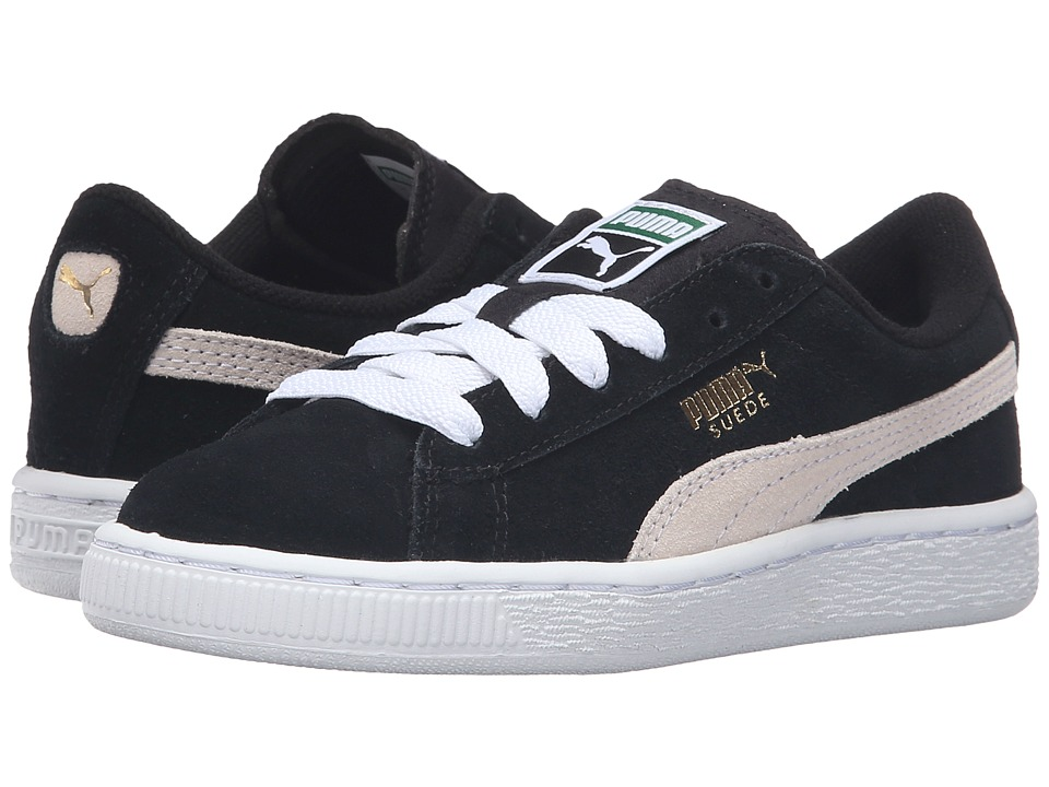 Puma Kids Suede PS (Little Kid/Big Kid) (Puma Black/Puma White) Boys Shoes
