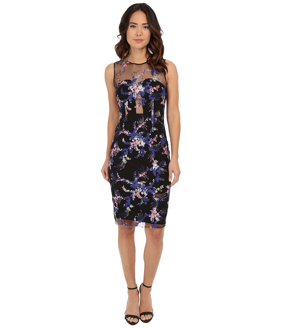 Nicole Miller Embroidered Flowers Cocktail Dress Black Multi Womens Dress