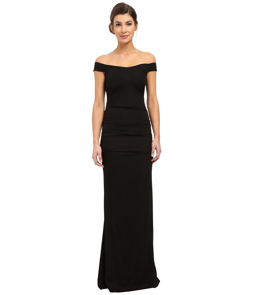 Nicole Miller Drop Shoulder Gown (Black) Women