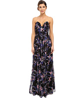 Nicole Miller - Embroidered Flowers Strapless Plunge Gown