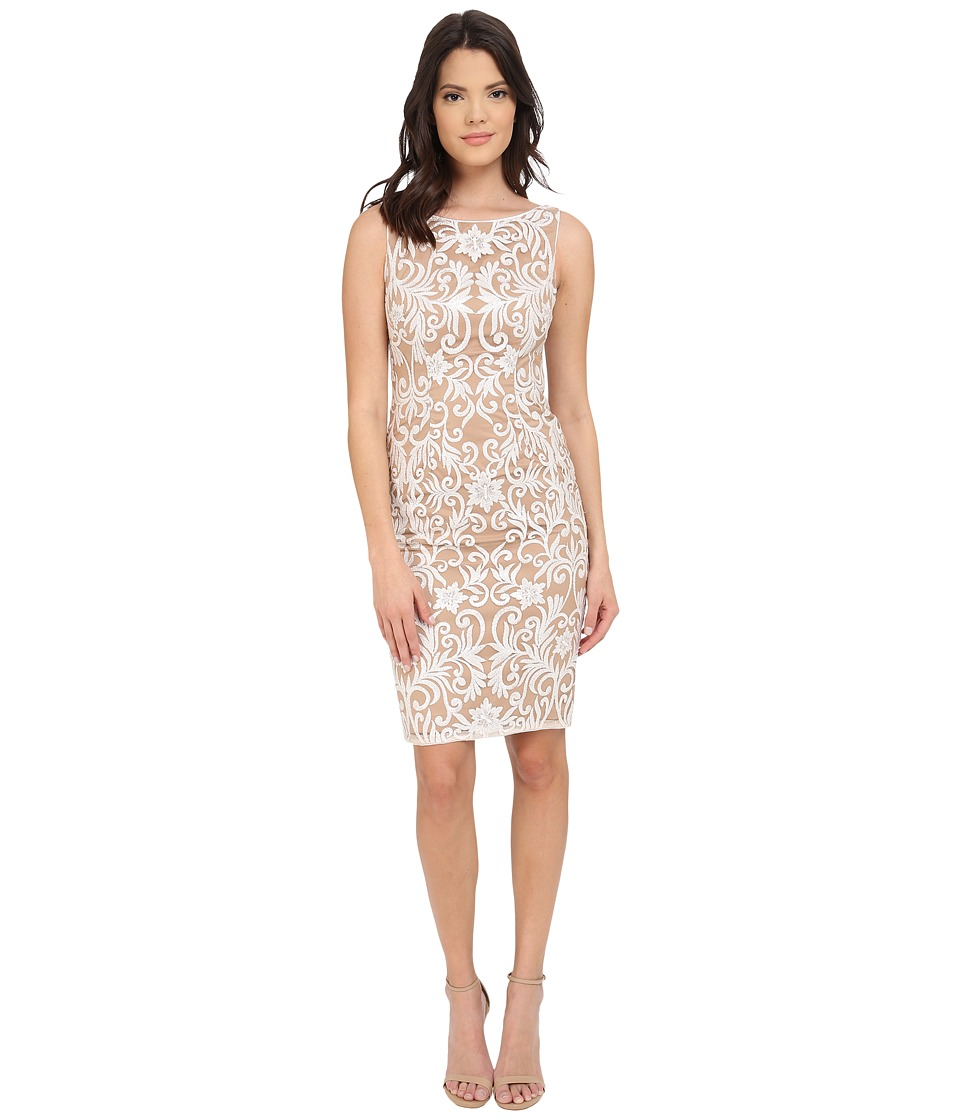 Adrianna Papell Sequin Embroidered Sheath Ivory Womens Dress
