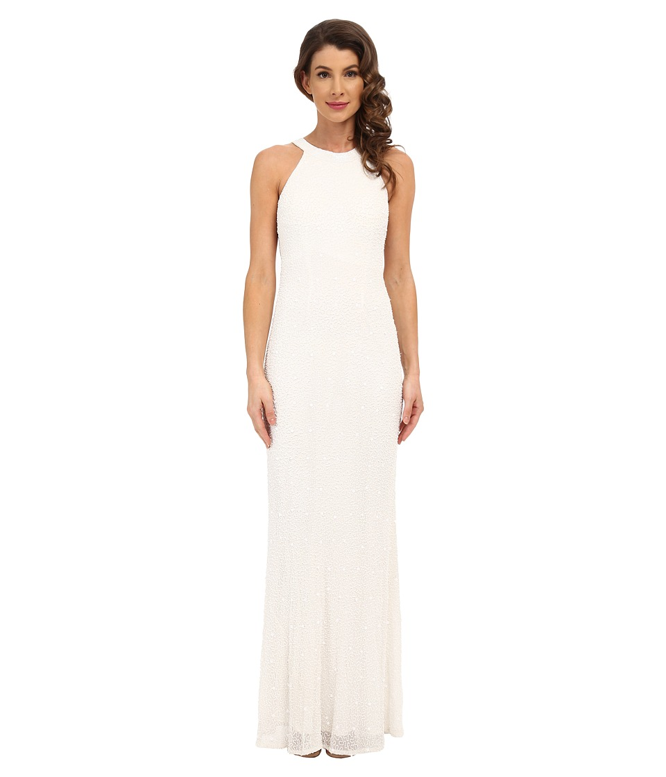 Adrianna Papell Caviar Bead Sheer Back Gown Ivory Womens Dress