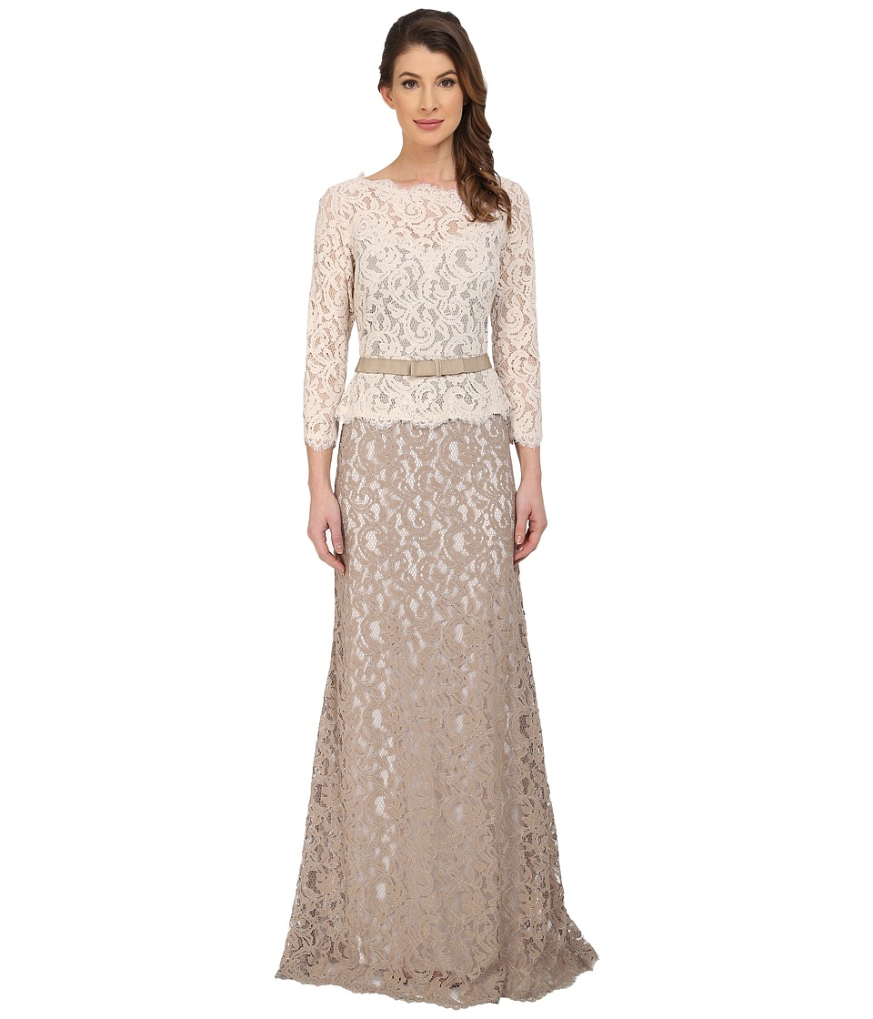Adrianna Papell 3/4 Sleeve Color Block Lace Gown Ivory/Taupe Womens Dress