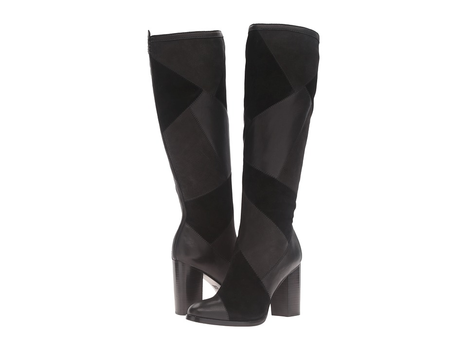 Frye Claude Patchwork Tall (Black Multi Suede/Smooth Vintage Pull Up) Women