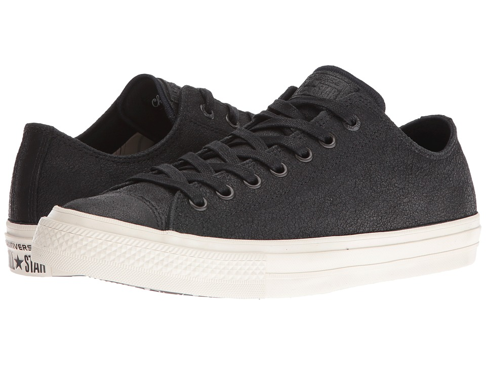 Converse by John Varvatos Chuck Taylor All Star II Coated Leather Ox (Black/Black/Turtledove) Lace up casual Shoes