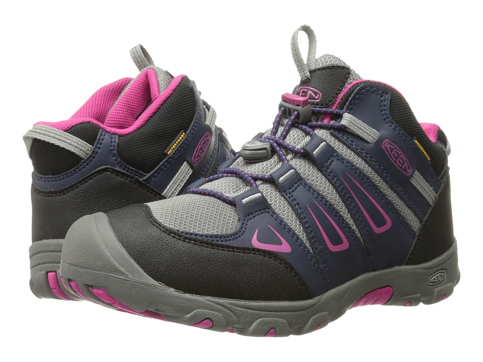 Keen Kids Oakridge Mid WP (Little Kid/Big Kid) (Dress Blues/Very Berry) Girls Shoes