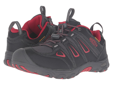 Keen Kids Oakridge Low WP (Little Kid/Big Kid) - Black/Tango Red