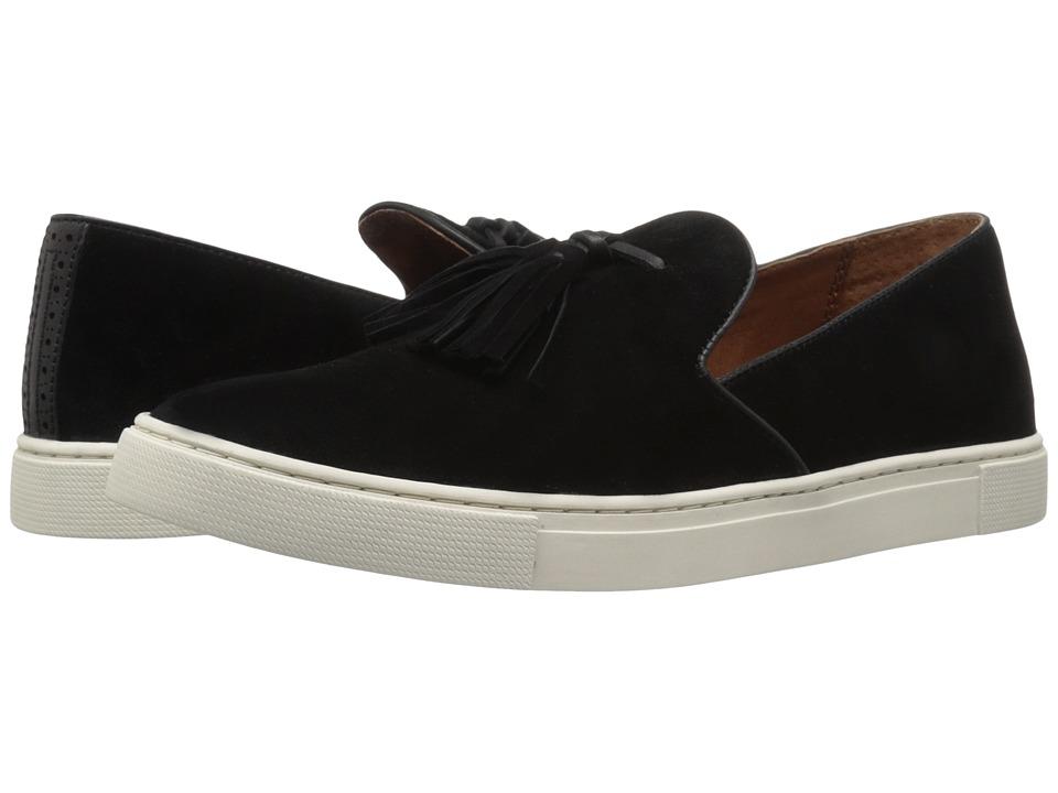 Frye - Gemma Tassel Slip (Black Suede/Smooth Vintage Leather) Women