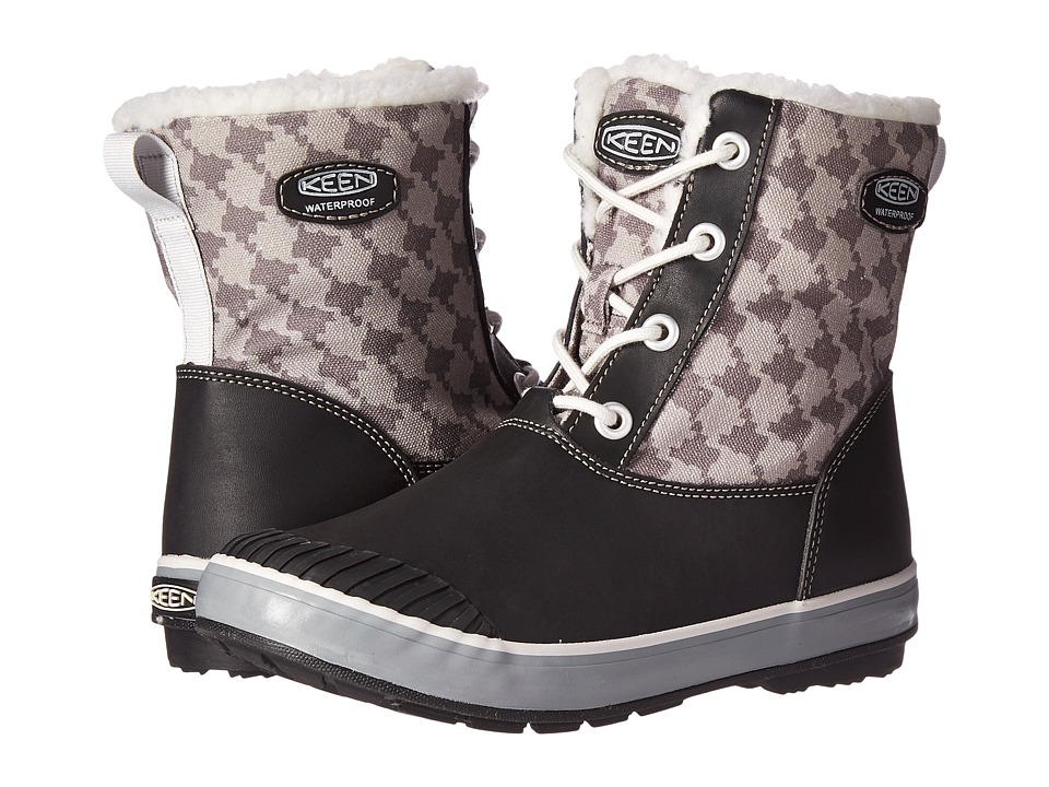 Keen Kids Elsa Boot WP (Little Kid/Big Kid) (Black/Houndstooth) Kids Shoes