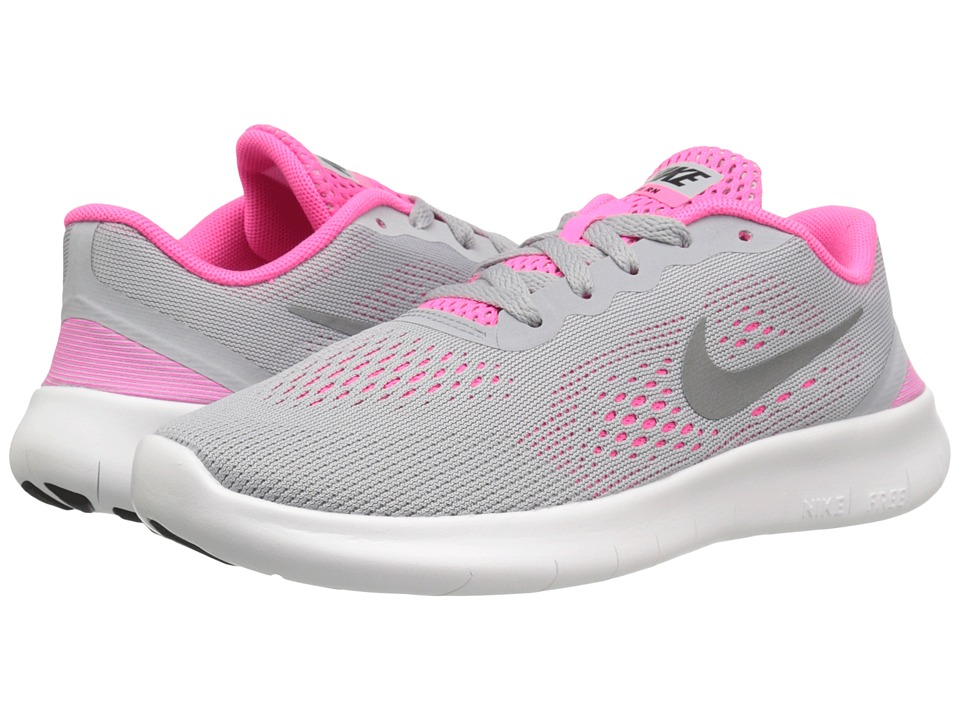 Nike Kids Free RN (Little Kid) (Wolf Grey/Metallic Silver/White/Black) Girls Shoes