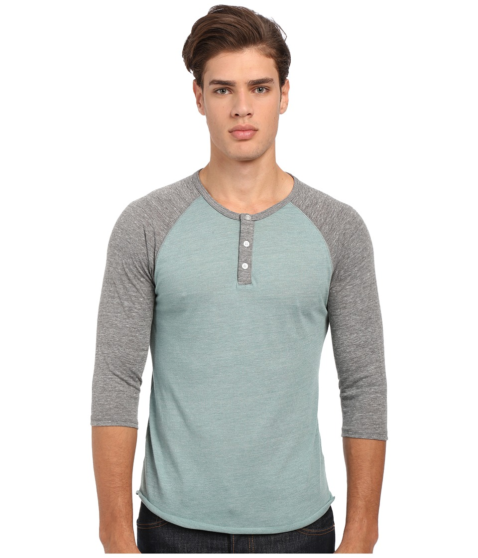 Alternative 3/4 Raglan Henley Eco True Green Surf/Eco Grey Mens Long Sleeve Pullover