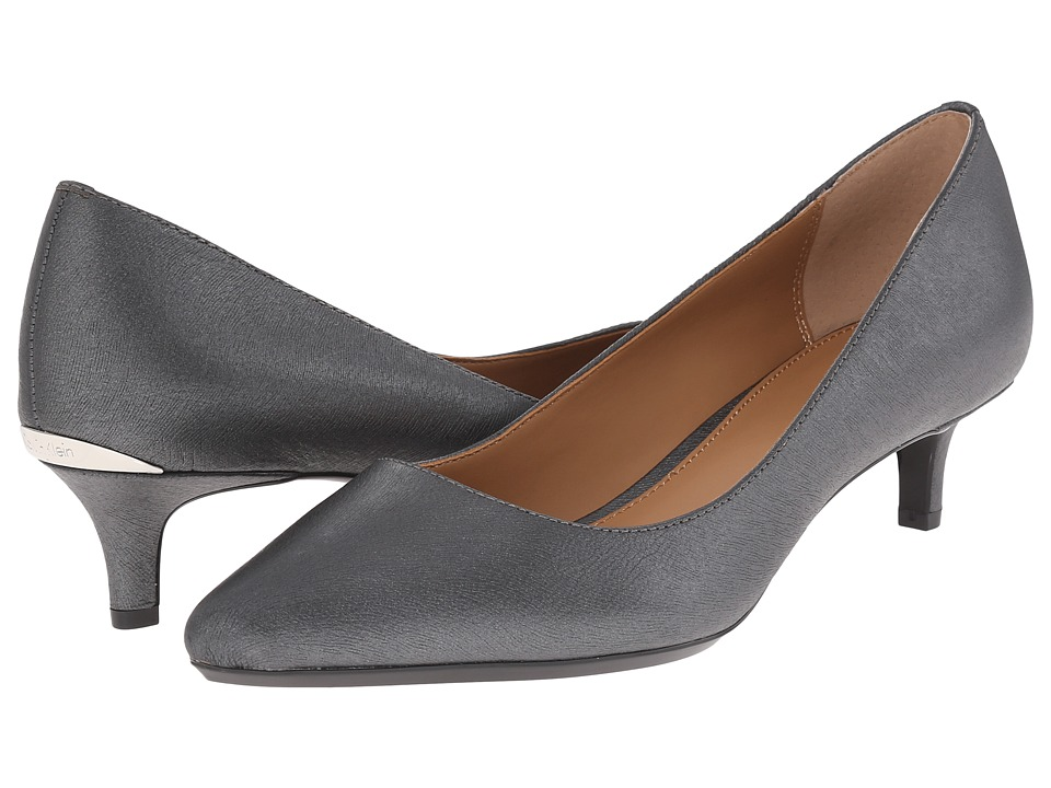 Calvin Klein Gabrianna Pump (Steel Saffiano Leather) 1-2 inch heel Shoes