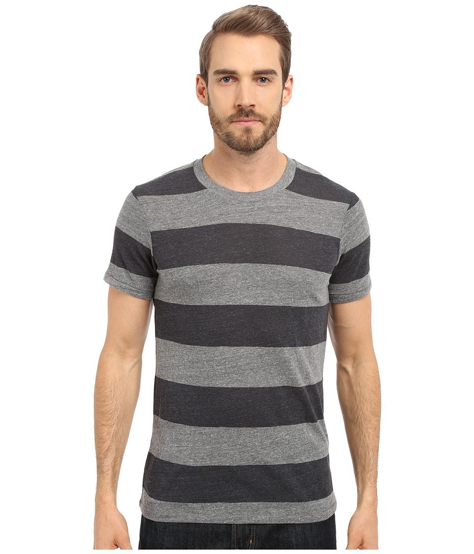 Alternative Eco Crew Eco Grey/Iron Weathered Stripe Mens Short Sleeve Pullover