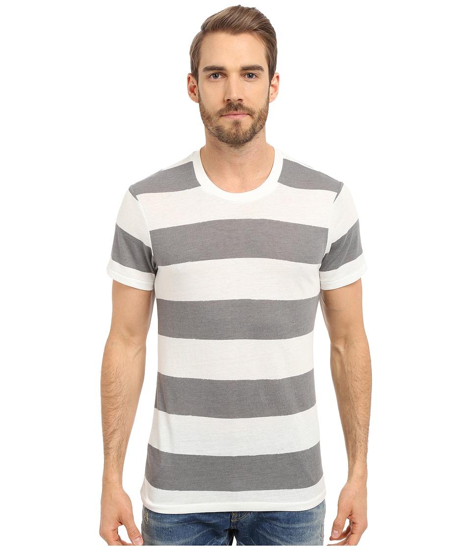 Alternative Eco Crew Eco True Grey/White Weathered Stripe Mens Short Sleeve Pullover
