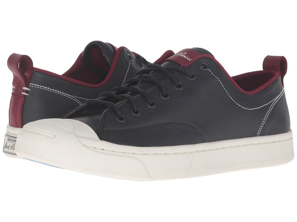 Converse - Jack Purcell M-Series Tumbled Leather Ox (Black/Red Block/Egret) Men