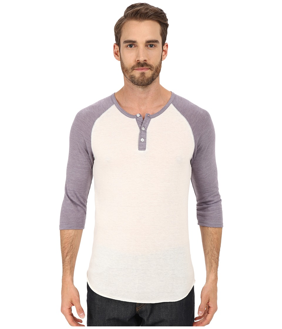 Alternative 3/4 Raglan Henley Eco Ivory/Eco True Purple Dusk Mens Long Sleeve Pullover