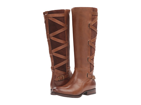 Frye Jordan Strappy Tall - Wood Smooth Vintage Leather/Oiled Suede