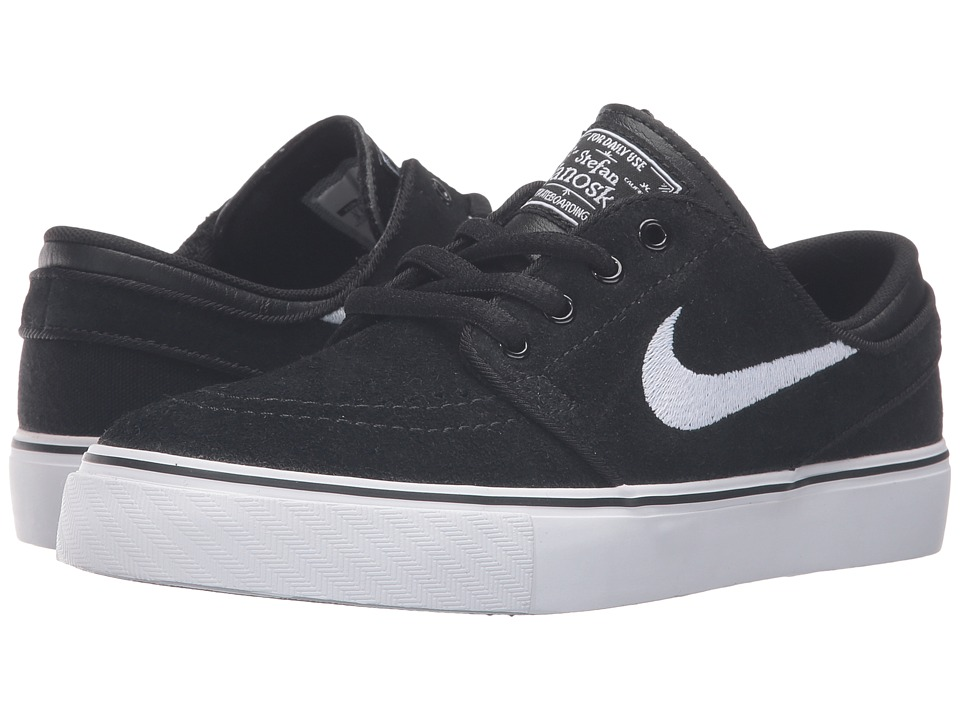 Nike SB Kids Stefan Janoski (Big Kid) (Black/Gum Medium Brown/White) Boys Shoes