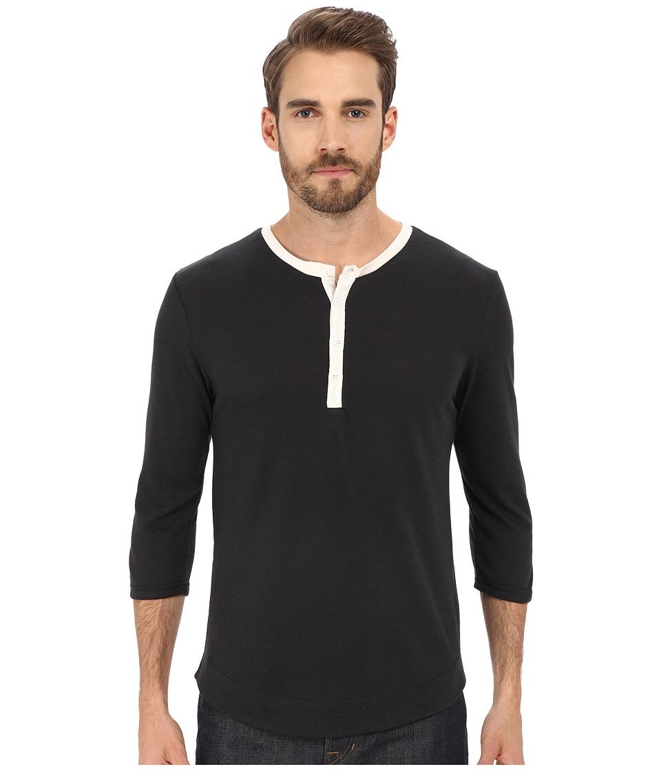 Alternative Eco Jersey Pastime Henley Eco True Black Mens Long Sleeve Pullover