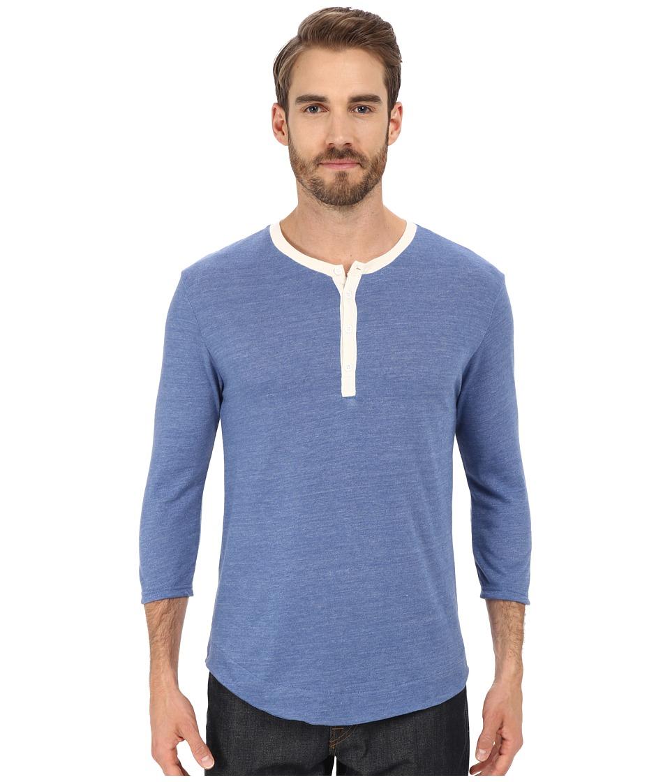 Alternative Eco Jersey Pastime Henley Eco True Ocean Blue Mens Long Sleeve Pullover
