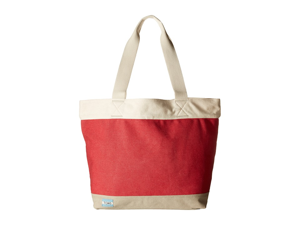 TOMS - Canvas Tote (Medium Red) Tote Handbags