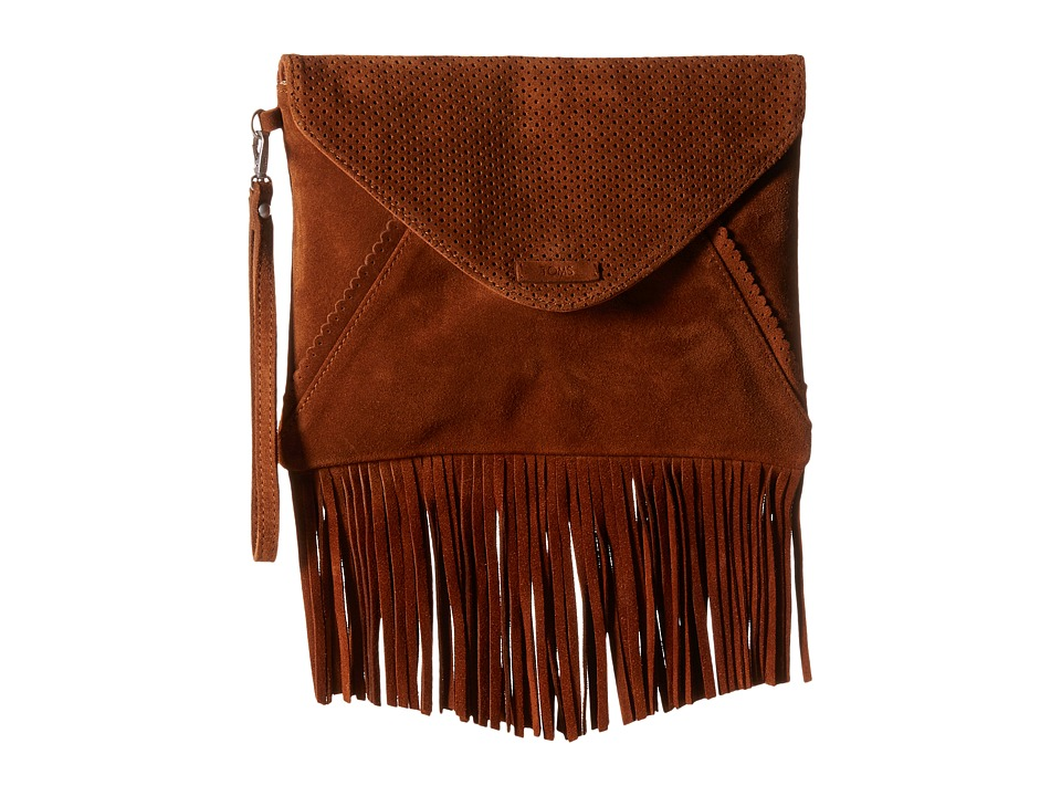 TOMS Suede Clutch (Brown) Clutch Handbags