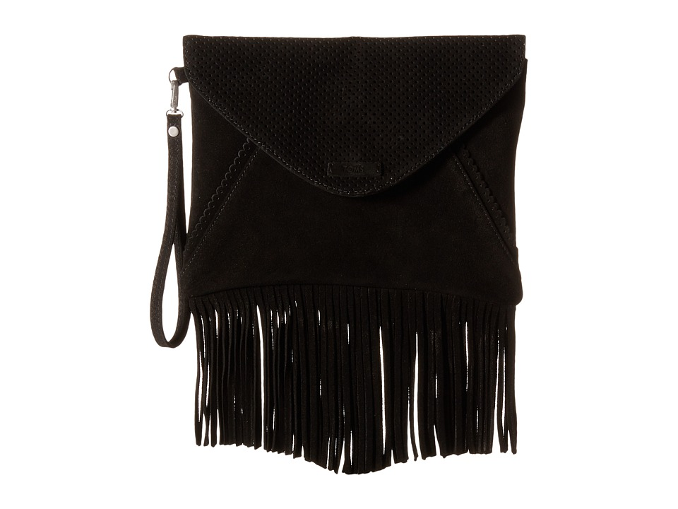 TOMS Suede Clutch (Black) Clutch Handbags