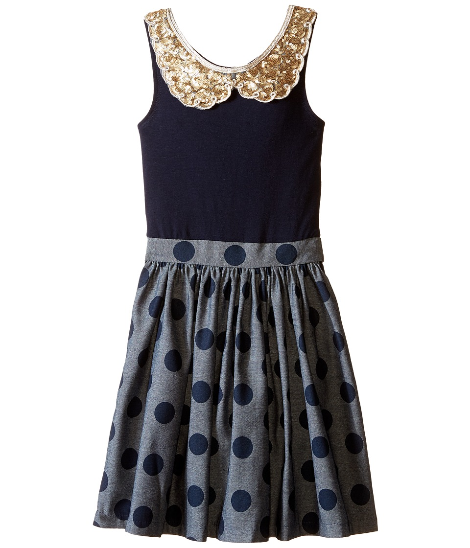 fiveloaves twofish Denim Dot Tank Dress Little Kids/Big Kids Denim Girls Dress