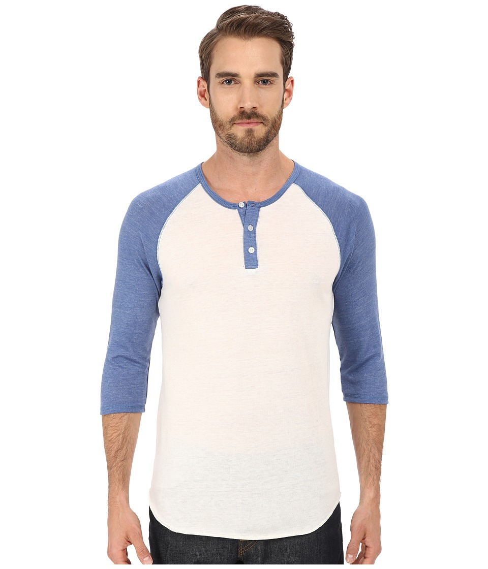 Alternative 3/4 Raglan Henley Eco True Ocean Blue Mens Long Sleeve Pullover
