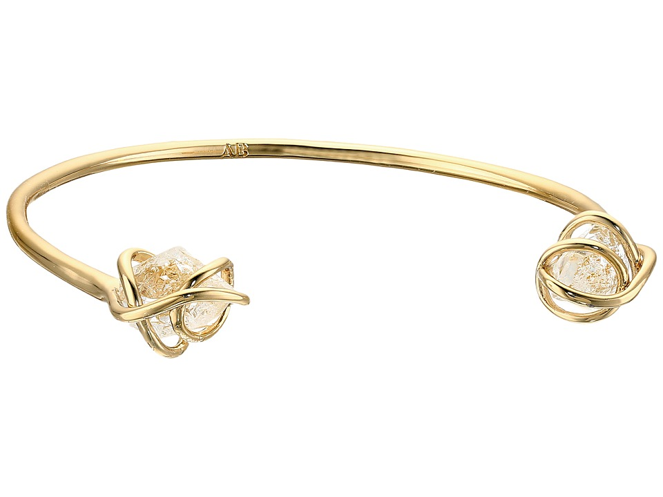 Alexis Bittar Caged Cuff w/ Rough Cut Crystal Nuggets Bracelet 10K Gold Bracelet
