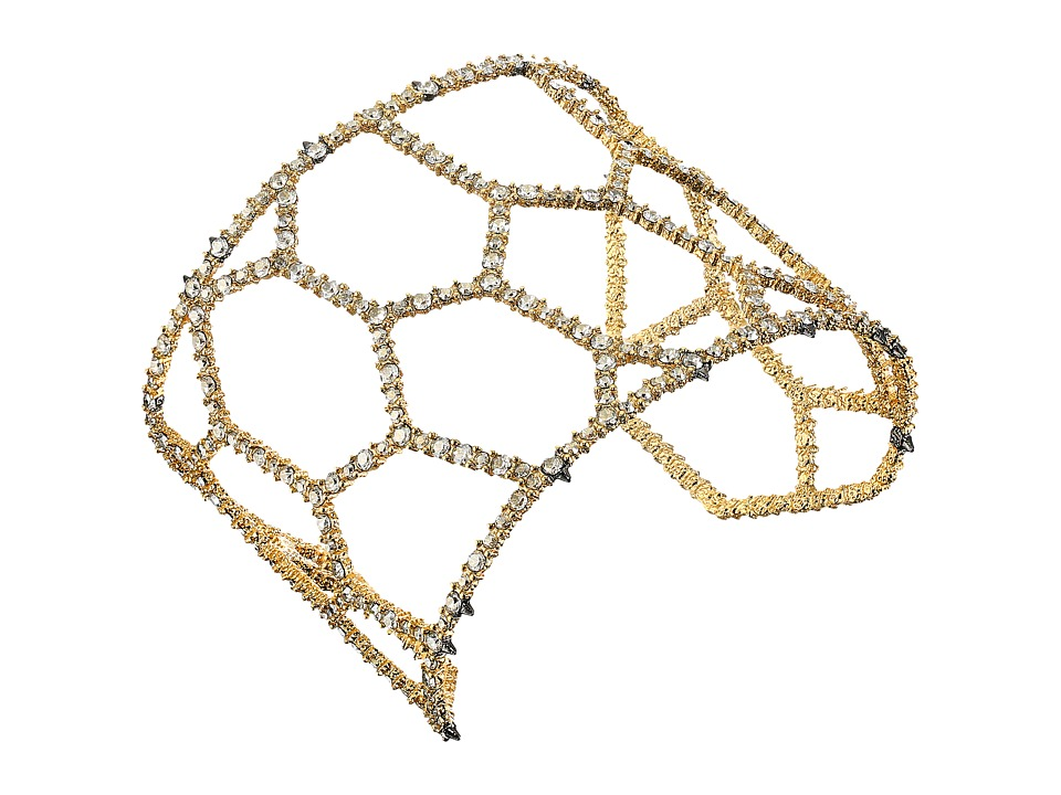 Image of Alexis Bittar - Crystal Encrusted Honeycomb Cuff w/ Spike Accent Bracelet (Ruthenium w/ 14K Gold) Bracelet