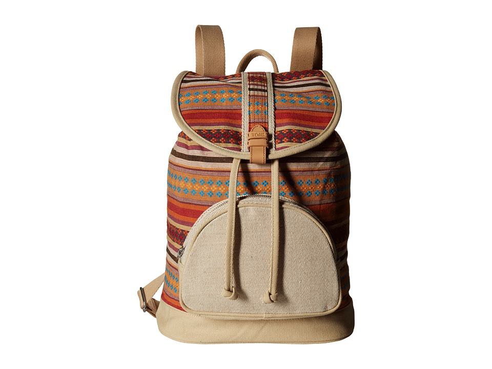 TOMS - Multi Stripe Backpack (Medium Red) Backpack Bags