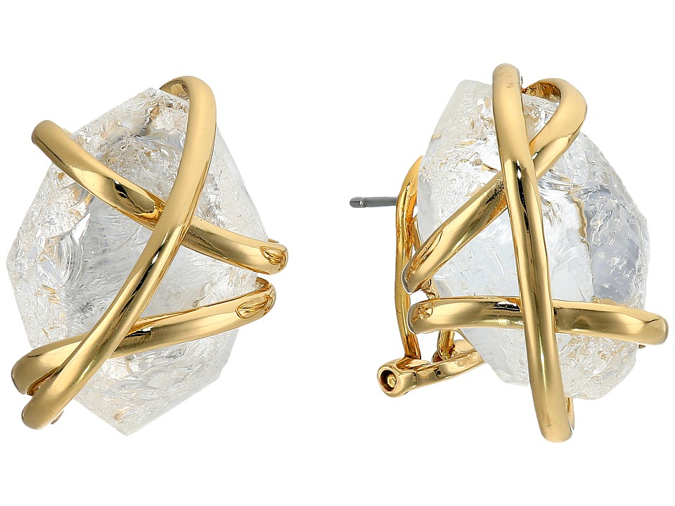 Alexis Bittar Caged Post w/ Rough Cut Crystal Nugget Earrings 10K Gold Earring