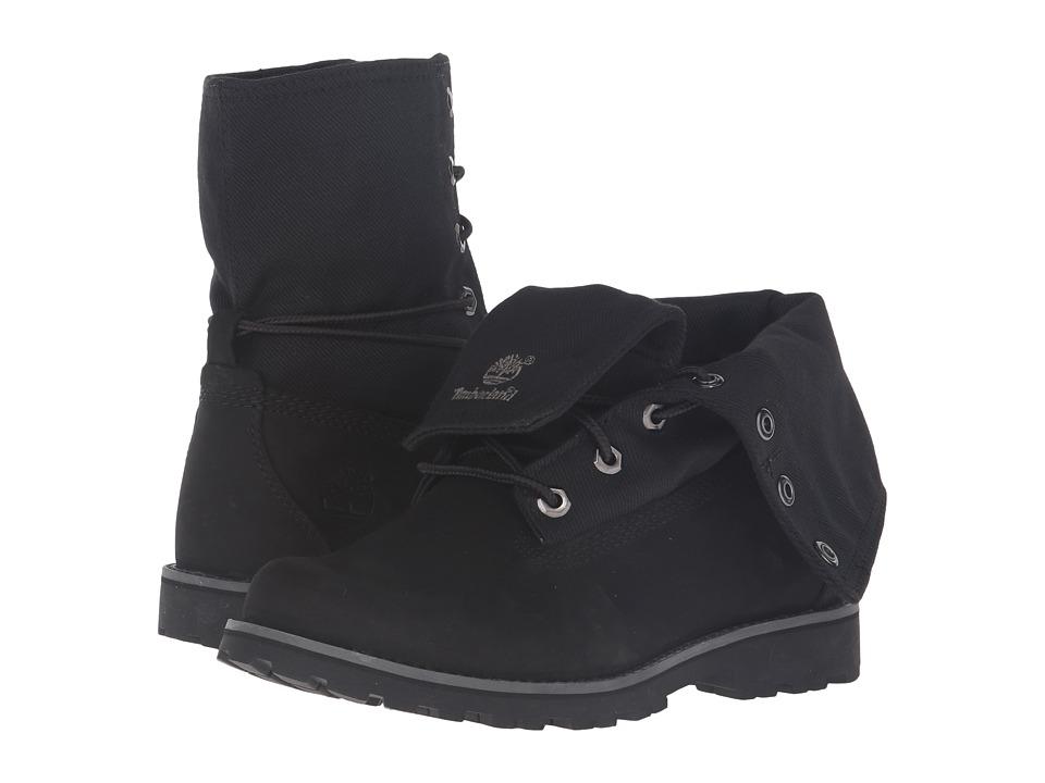 Timberland Kids - Authentics Fabric Fold Down (Big Kid) (Black Nubuck/Fabric) Kids Shoes