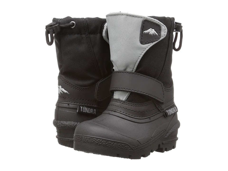 Tundra Boots Kids - Quebec (Toddler/Little Kid/Big Kid) (Black/Grey) Boys Shoes