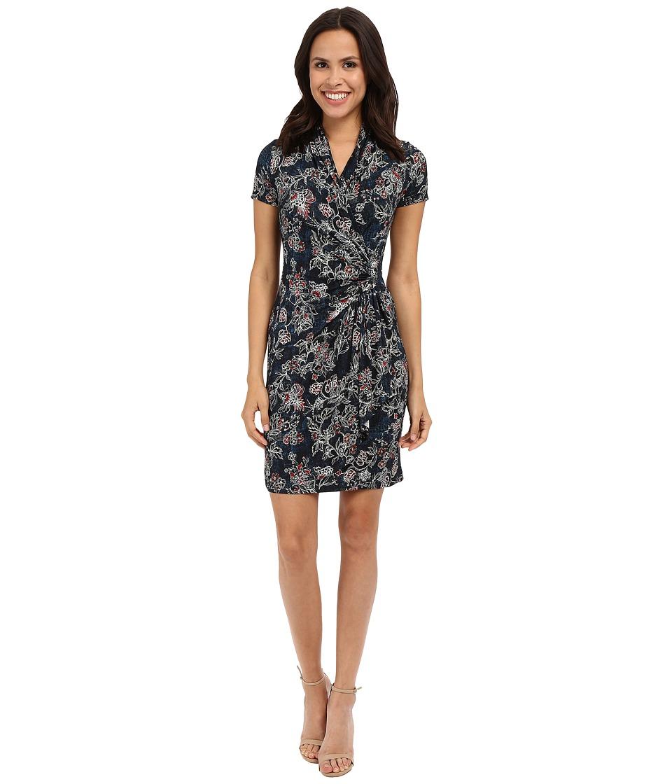 Karen Kane Batik Floral Cascade Wrap Dress Print Womens Dress
