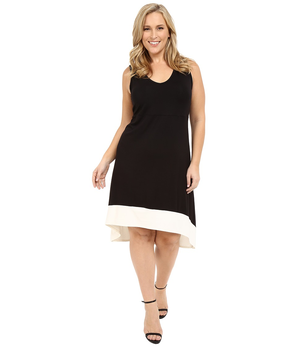 Karen Kane Plus Plus Size Hi Lo Sleeveless Dress Black/Cream Womens Dress