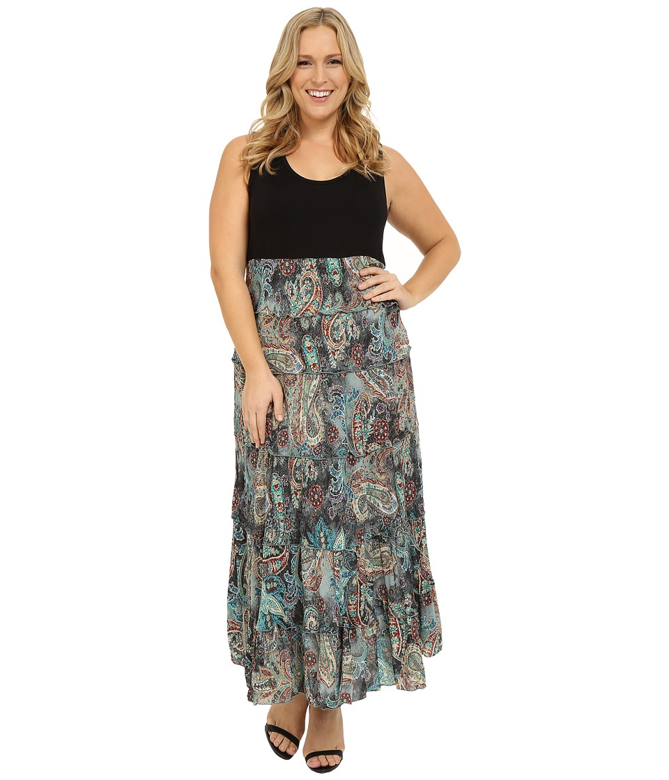 Karen Kane Plus Plus Size Floral Paisley Print Tiered Maxi Dress Print Womens Dress