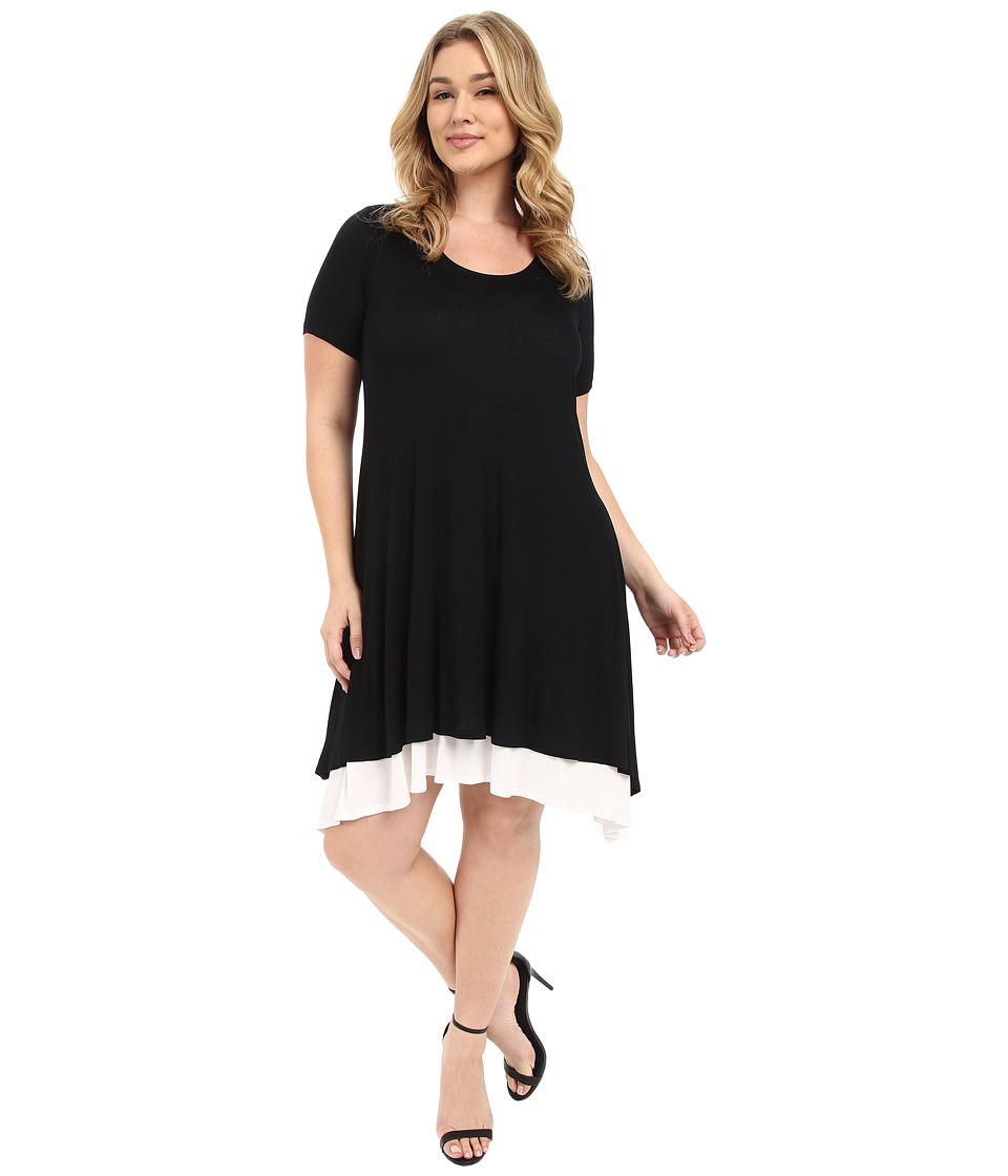 Karen Kane Plus Plus Size Layered Handkerchief Hem Dress Black/Off White Womens Dress