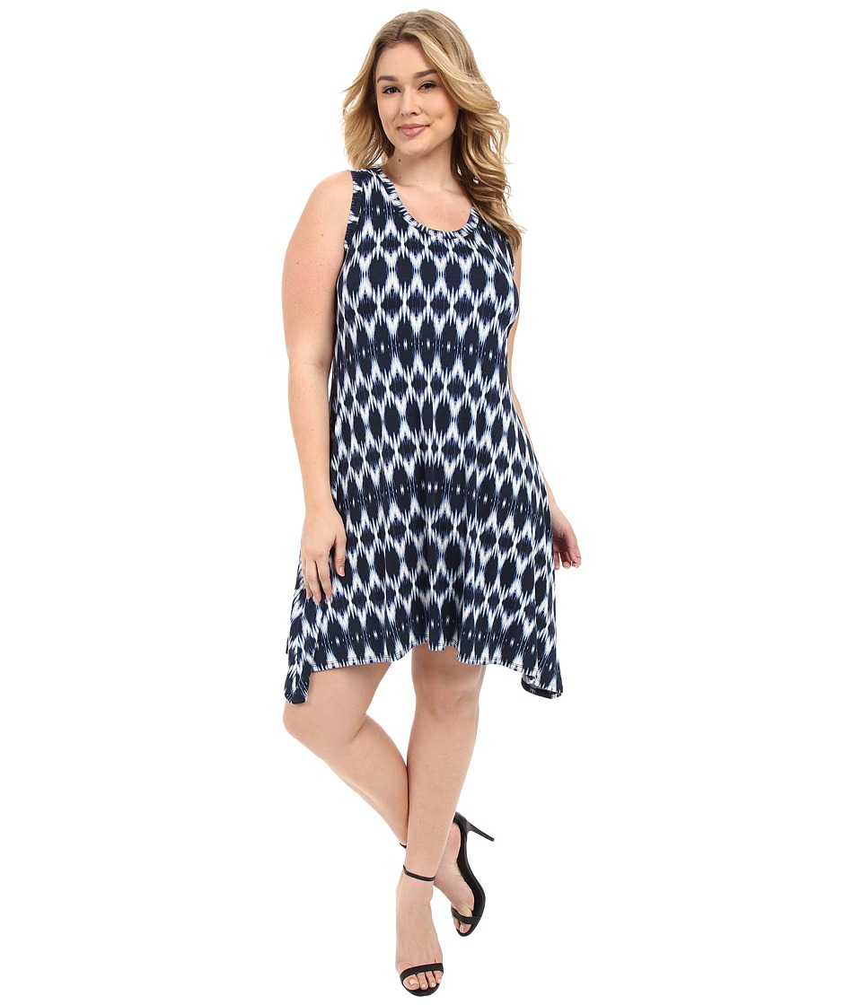 Karen Kane Plus Plus Size Blurred Ikat Uneven Hem Tank Dress Print Womens Dress