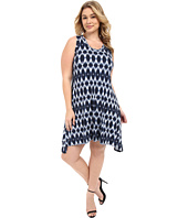 Karen Kane Plus - Plus Size Blurred Ikat Uneven Hem Tank Dress