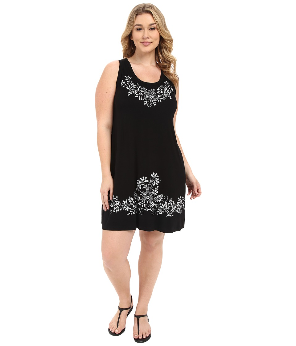 Karen Kane Plus Plus Size Print Tank Dress Black Womens Dress