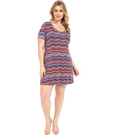 Karen Kane Plus - Plus Size Wavy Print T-Shirt Dress