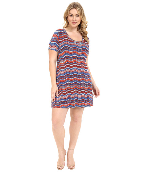 Karen Kane Plus Plus Size Wavy Print T-Shirt Dress